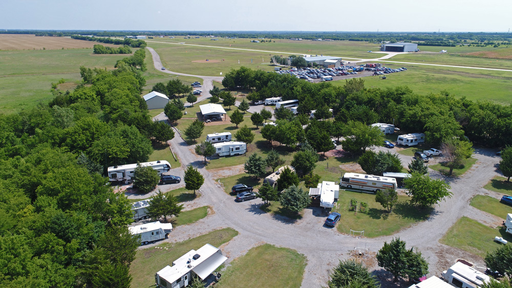 The Closing Loop RV park, with the main hangar in the background