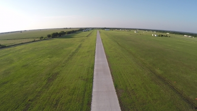 Our new concrete runway lets us operate no matter how much it's been raining!