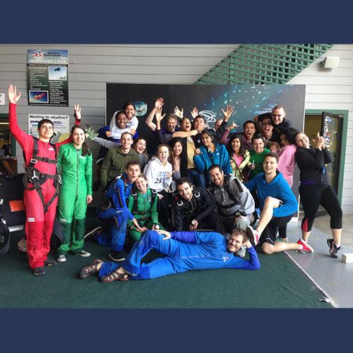 Tandem skydiving group